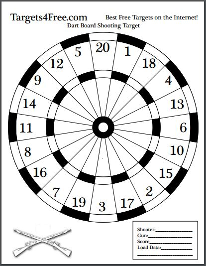 Dart Board Shooting Target Black and White