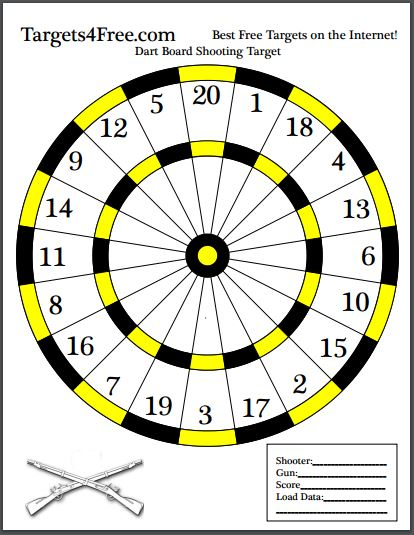 Dart Board Shooting Target Black and Yellow