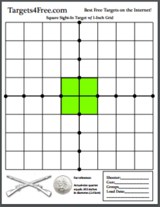 Square Sight-In Shooting Target Green