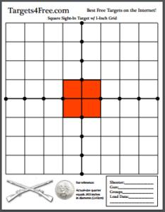Square Sight-In Shooting Target Orange