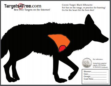 coyote target hunting black silhouette shooting target targets4free snip