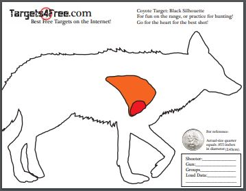 image relating to Printable Silhouette Shooting Targets named Coyote Focus With Vitals (Printable for Totally free!) - Objectives4No cost