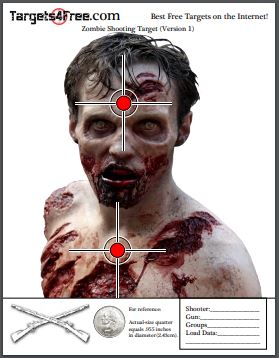 Printable Zombie Targets by Targets4Free Preview Snip (Version 1)