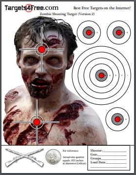 Printable Zombie Targets by Target4Free Preview Snip (Version 2)