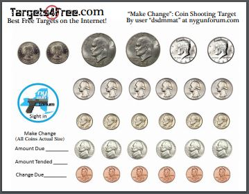 Make Change Coin Shooting Target by Targets4Free nygunforum dsdmmat