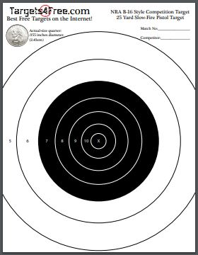photograph regarding Printable Nra Pistol Targets known as NRA B-16 Concentrate (Printable for Cost-free) - Plans4Absolutely free