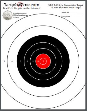 NRA B-16 Target Red Center Printable Free by Targets4Free preview snip
