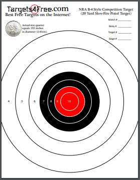 NRA B-4 Target Red Center Printable Free Adapted By Targets4Free Preview Snip