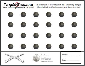 Fourth of July Musket Ball Shooting Target by Targets4Free