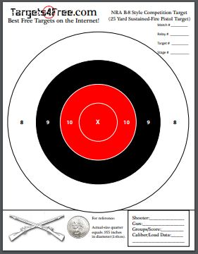 NRA B8 Target Red Center Printable Free Adapted by Targets4Free