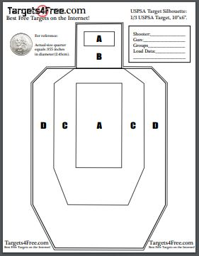 USPSA Target Silhouette Free Printable Targets by Targets4Free preview snip